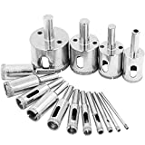 15 Pack Diamond Drill Bits by Hiveseen, 3mm-40mm, Carbon Steel, Wet Cut, Hollow Core Hole Saw for Glass, Ceramic, Porcelain, Marble, Tile, Granite