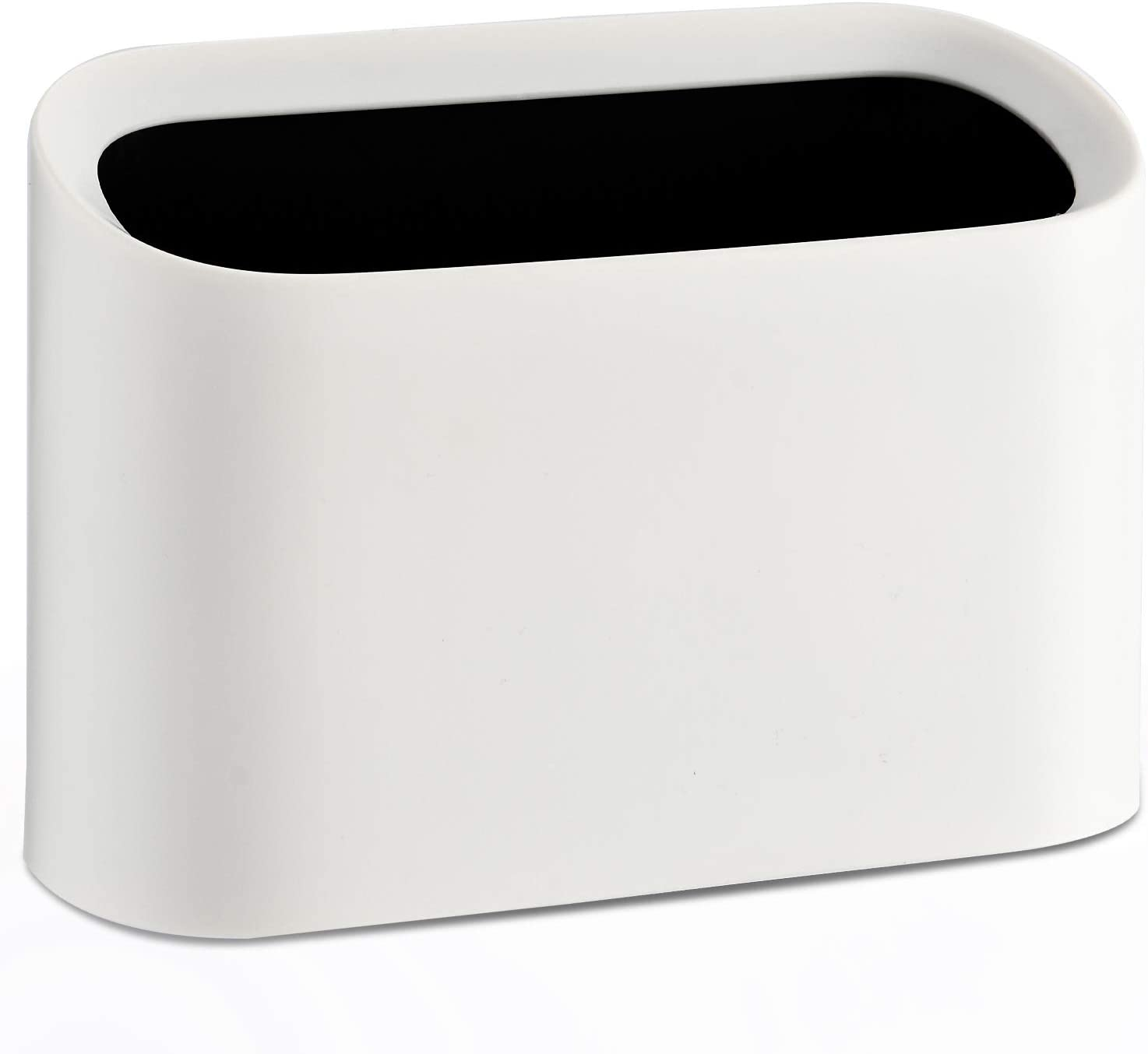 SUBEKYU Mini Desktop Wastebasket Trash Can, Plastic Small Tiny Office Countertop Garbage Can, White