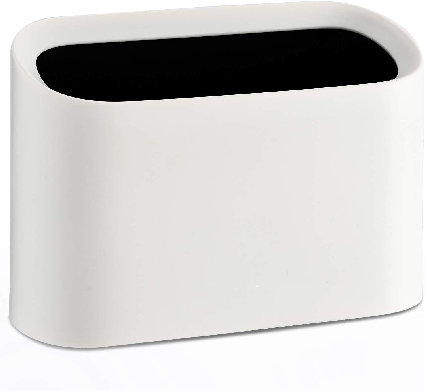 SUBEKYU Mini Desktop Wastebasket Trash Can, Plastic Small Tiny Office Countertop Garbage Can, White