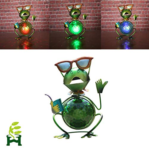 EH-GARDEN Metal Frog Seven Color Changing Lights Glass Ball Outdoor Solar Powered LED Garden Light