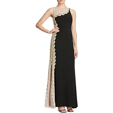 7b7ac5ee Amazon.com: Avery G Women's Metallic Lace Side Formal Dress, Black ...