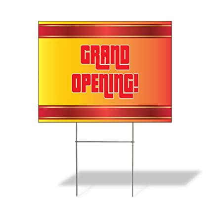 Open Come On In Red Corrugated Plastic Yard Sign //Free Stakes