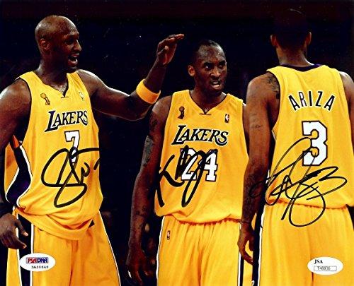 (Kobe Bryant Odom Ariza Triple Signed Autographed 8X10 Photo Lakers JSA T48836)