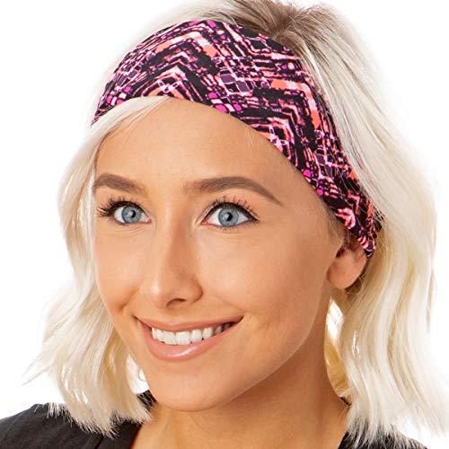 Hipsy Adjustable & Stretchy Xflex Band Wide Sports Headbands for Women Girls & Teens (5pk Magenta/Black/Mosiac/Coral/Grey)