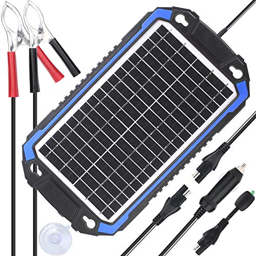 SUNER POWER 12V Solar Car Battery Charger & Maintainer - Portable 8W Solar Panel Trickle Charging Kit for Automotive, Motorcycle, Boat, Marine, RV, Trailer, Powersports, Snowmobile, etc. (Best Boat Battery Charger)