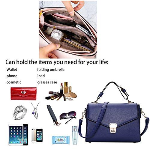 Bolso Piel pequeño Azul Bolso Moda de Mano Mujer Trabajo Billetera Bolso Tisdaini Bandolera PU XxOfwP0nxq