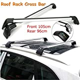 ROKIOTOEX Extendable Universal Shark Aluminum Alloy Roof Rack Crossbars for Outer Grooved Roof Rack Flush Rails - Silver and Black (SGCB9586)