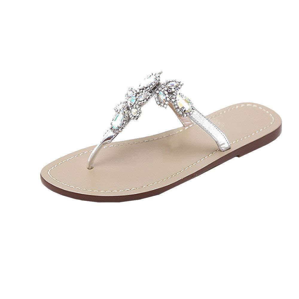 Bohemian Sandals,Boomboom Soft Juniors Women Summer Shining Rhinestones Chain Sandals T-Strap Beach Flat Slipper Shoes (Silver,US 7)