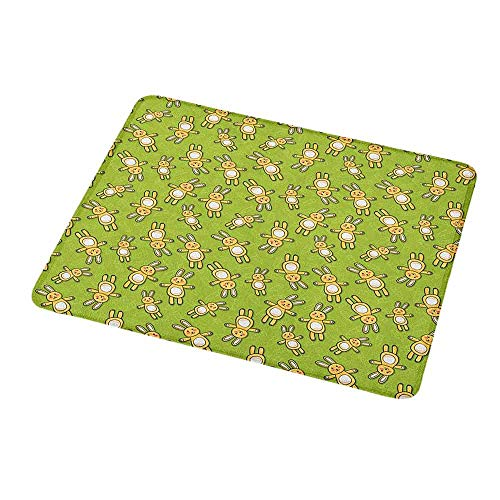 (Custom Mouse Pad Gaming Mat Anime,Kids Toy Rabbits Pattern on a Green Background with Doodle Carrots,Apple Green Yellow and White,Custom Design Gaming Mouse Pad 9.8