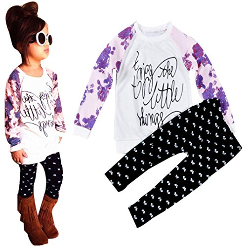 Fall Winter Clothes Set MITIY Cotton Long Sleeve Letter Print T-Shirt Tops+Pants Toddler 2Y-6Y (White, 6T)