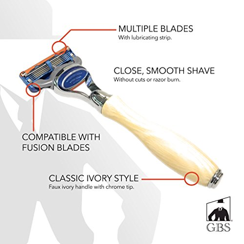 GBS Men's 5 blade Ivory Long Handle Shaving Razor With Chrome Accents by GBS