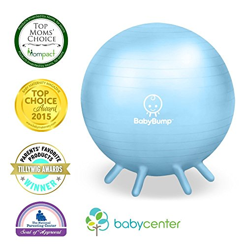 Baby Bump Birth Ball w Base Legs - Yoga Ball - Anti-burst - Pump - Exercise during Pregnancy - Prenatal Fitness - Induces Labor - Soothes Babies - Yoga Moms - 65 cm - Baby Blue