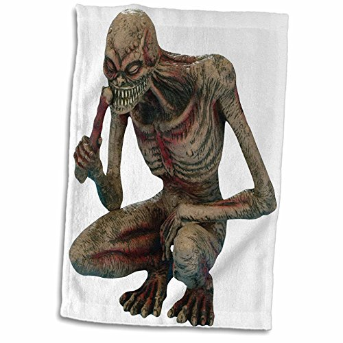 3dRose Blonde Designs Happy and Haunted Halloween - Halloween Gory Squatting Zombie - 12x18 Hand Towel (twl_131220_1) (Gory Halloween Dishes)