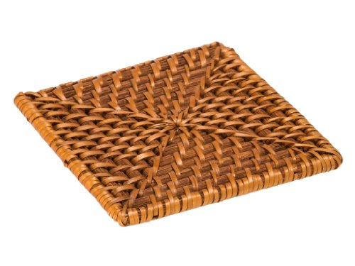Honey Rattan (KOUBOO 1010036 Square Rattan Coasters with Holder, Set of 4, 5