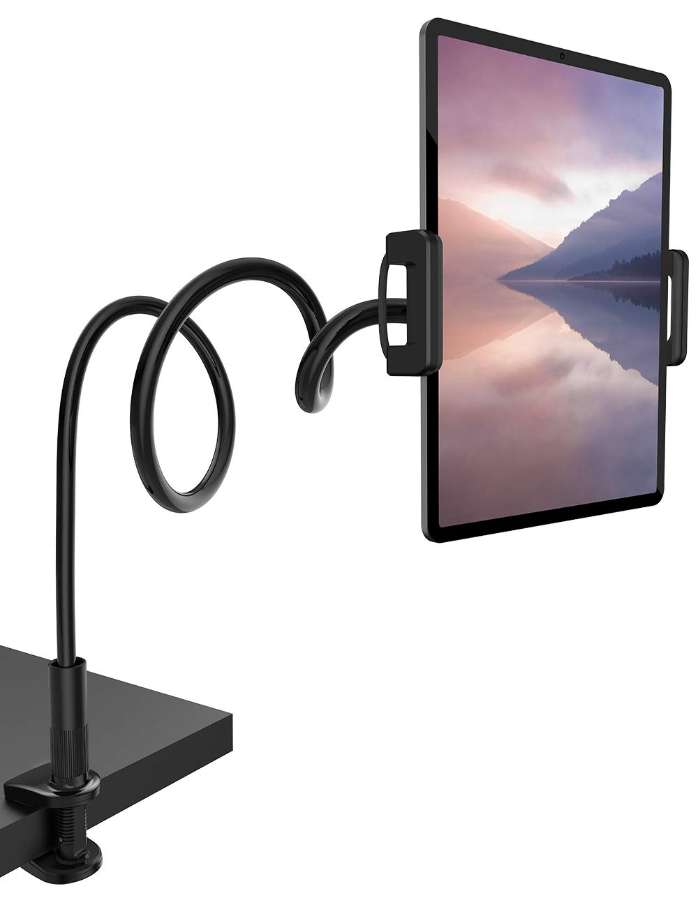"Gooseneck Tablet Mount Holder for Bed - Lamicall Flexible Tablet Arm Clamp, Bed Stand for 4.7-11"" Devices, Such as iPad Mini 7.9, Air 9.7, Pro 10.5/11, Nintendo Switch, Samsung Galaxy Tabs - Black"