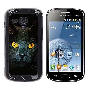 YiPhone /// Prima de resorte delgada de la cubierta del caso de Shell Armor - Cat Yellow Eyes Grey British Shorthair - Samsung Galaxy S Duos S7562