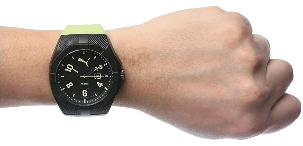 Amazon.com: Puma Iconic Mens Quartz Watch with Black Dial Analogue Display and Green Silicone Strap: Watches
