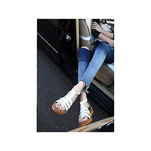 Lanieres Plateforme OCHENTA Boucle Cheville Grande Blanc Mode Femme Plates Poiture Sandales Decoupees r01qwtUnx1