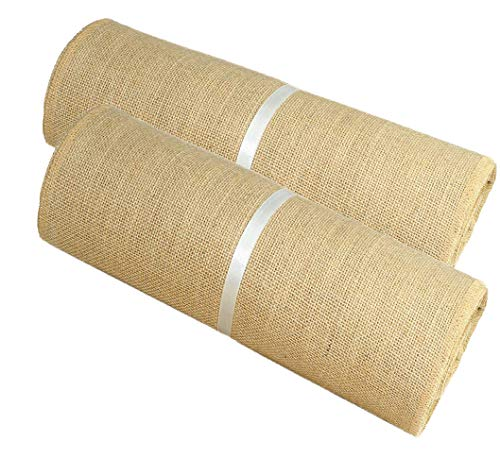 Cotton Craft - Jute Burlap Table Runner - 12 in. x 10 Yards - Rustic Hessian - Overlocked Edges - for Weddings, Home Décor & Crafts