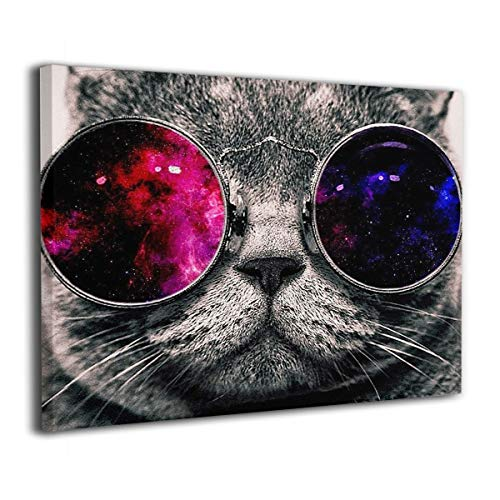 Achujuyou Modern Wall Art On Canvas Red Black Glass Personality Cat Kitty Frameless Artwork Bedroom Living Room Decorative Painting Modern Gallery 16