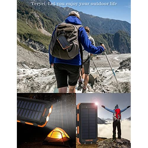 Solar Charger Teryei Solar Power Bank 15000mAh External Backup Outdoor Cell Phone Battery Charger with Dual USB Port,Dual LED Flashlights,Solar Panel for iPhone,Samsung,Emergency Camping (Orange)