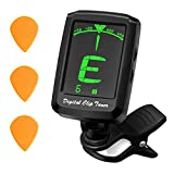 Guitar Tuner, TOPELEK digital Clip-on Tuner, Large LCD Display&360 Degree Rotating,Five Modes for Guitar, Cavaquinho, Violin, Ukulele and Other Stringed Instruments (3 Plectrum Included)