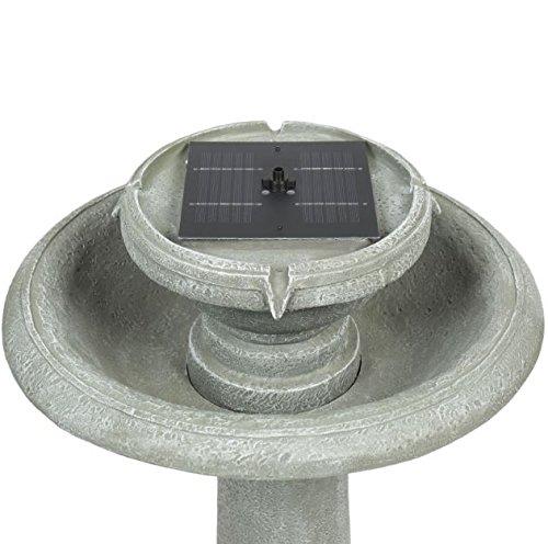 Gray Bird Bath Fountain Weathered Solar Power 2 Tier + eBook