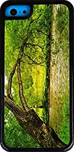 Rikki KnightTM Big Tree on bank White Tough-It Case Cover for iPhone 5 & 5s(Double Layer case with Silicone Protection and thick front bumper protection)