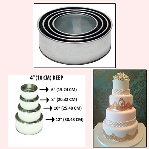 Set of 4 Tier Round Multilayer Birthday Wedding Anniversary Cake Tins / Pans / Mould by Falcon 4'' Deep by Falcon