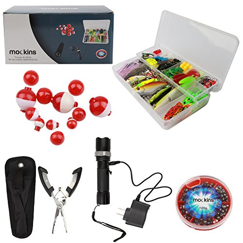 mockins All In One Fishing Set Includes 139 Piece Fishing Lure Kit | Fishing Flashlight | 120g Fishing Sinker Kit | Fishing Pliers | 12 Pieces Fishing Floats