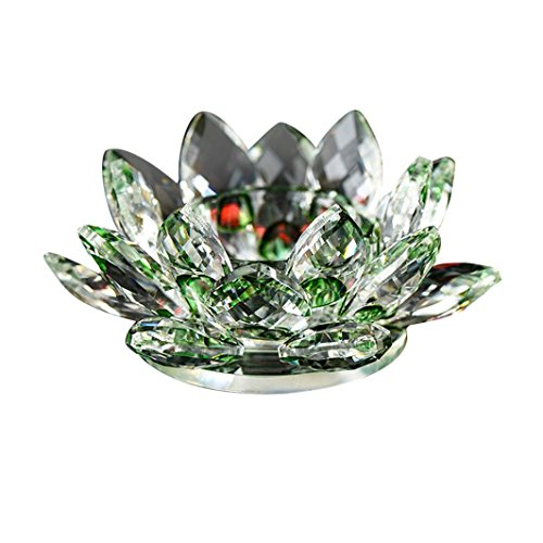 Lotus Crystal Lotus Flower Tea Light Candle Holder, Decor Collection,Decor Collection ,Tuscom (Diameter: 80CM/Green)