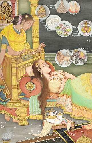 Fourteen Dreams of Trishala, the Mother of Tirthankara Mahavira - Water Color Painting on Paper