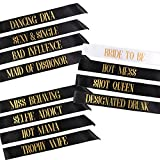 12 Bachelorette Sashes- 11 Bride Tribe Sashes and 1 Bride To Be Sash (Black)