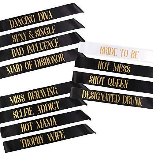 12 Bachelorette Sashes- 11 Bride Tribe Sashes and 1 Bride To Be Sash (Black) by Pop Fizz Designs