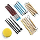 Clay Pottery Modeling Set Carving Tools Rock Painting Kit,24 pcs Modeling Clay Sculpting Tools Include Dotting Tools,Rubber Tip Pens,Ball Stylus Tool,Modeling Tools Pottery Tools,Ceramics Tool,Sponge