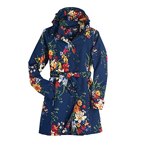 Belted Floral Trench Coat - Women's Floral Rain Jacket with Detachable Hood - Belted, Zip-Front Lined Coat - Size 8