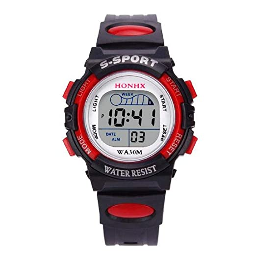 Firally - Reloj Digital para niños - Reloj Deportivo Impermeable - Reloj Despertador con Fecha - Reloj de Pulsera Rojo: Amazon.es: Relojes