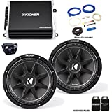 """Kicker 43C124 12"""" Comp Subwoofers with 43DXA2501 DX-Series Amplifier with remote and wire kit"""