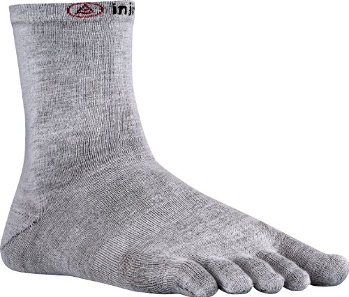 Injinji 2.0 Men's Liner Crew Toesocks, Gray, Large