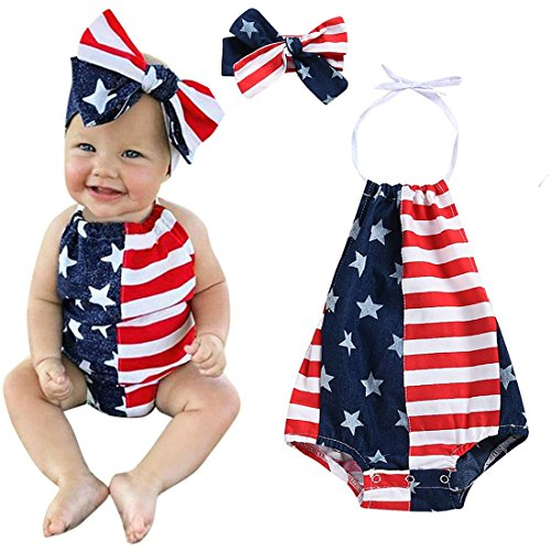 Baby Girls Boys Summer Outfits Clothes 4th of July 2018 Star Straps Romper Headband 2Pcs Set for 6-24 Months (Blue, 6-12 Months)
