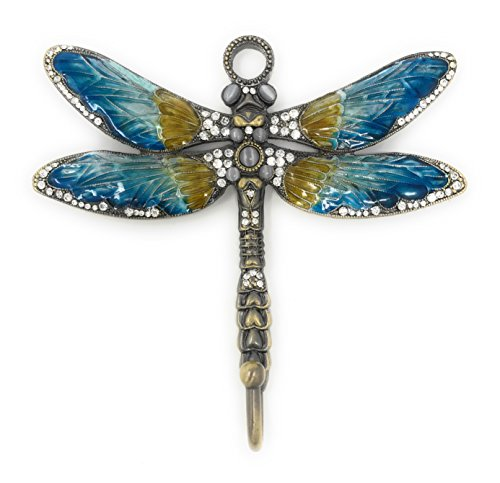 Jeweled and Enameled Pewter Blue Dragonfly Wall Hook By Kubla Crafts, Accented with Austrian Crystals, 5W X 5H