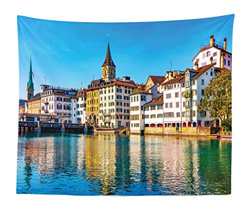 Lunarable Zurich Tapestry King Size, Scenic Summer View of The Old Town Pier and Limmat River Historical Architecture, Wall Hanging Bedspread Bed Cover Wall Decor, 104