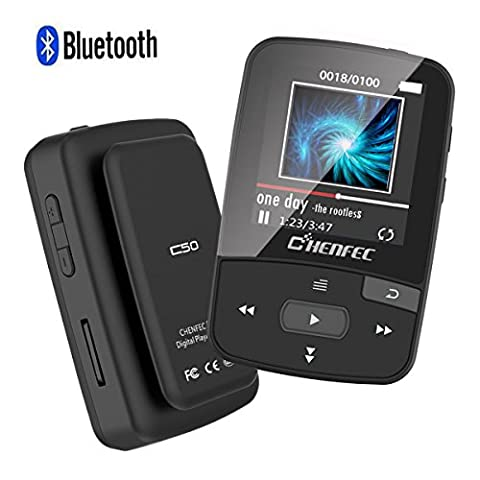ChenFec C50 8GB Clip Bluetooth MP3 Player 1.5 Inch Screen Mini Size Lossless Sound Music Player with FM Radio Voice Record | Micro SD Card Support (Armband Music Player)