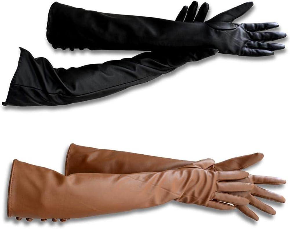XIJXKPCVHJAPXZW Guanti da donna di moda Belle donne Guanti in pelle Guanti lunghi in pelle per donna Guanti lunghi da donna Guanti moda