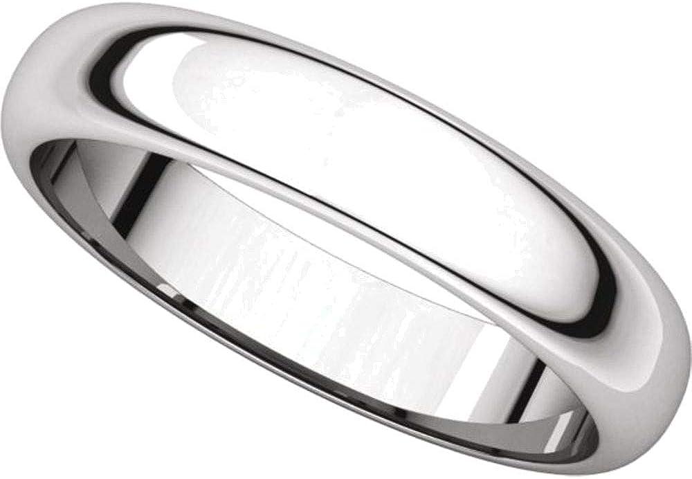 Bonyak Jewelry 10k White Gold 4 mm Half Round Band Size 11.5