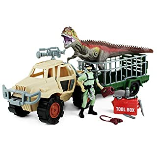 Boley Dinosaur Explorer Toy - Includes a Roaring T-Rex Dinosaur, Explorer Figure, Tool Box, & More! - 13Piece Jurassic Action Playset - Offers Hours of Pretend Play!