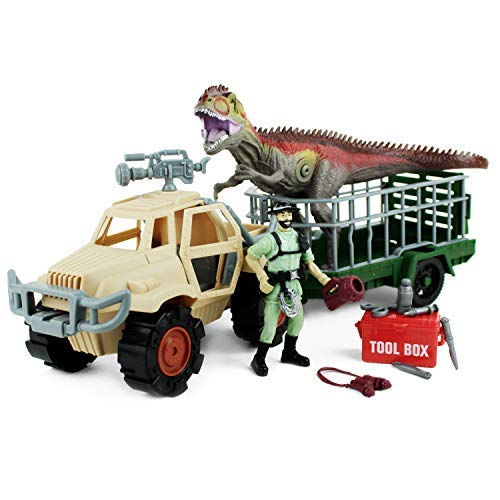 (Boley Dinosaur Explorer Toy - Includes A Roaring T-Rex Dinosaur, Dinosaur Explorer Figure, Tool Box, and More! - 13 Piece Jurassic Action Playset - Offers Hours of Pretend Play!)