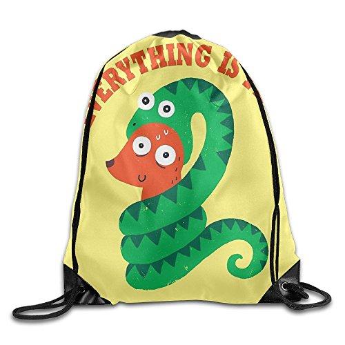 3D Print Drawstring Backpack Rucksack Shoulder Bags Gym Bag Lightweight Travel Backpack Everything Is Fine by FSFFFD (Image #1)