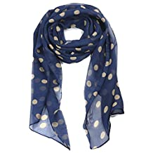TRIXES Ladies Cream Polka Dots on Navy Blue Fashionable Silk Scarf