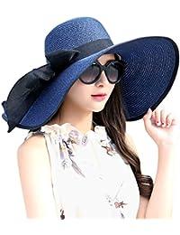 Womens Big Bowknot Straw Hat Foldable Roll up Sun Hat Beach Cap UPF 50+ 59bfb0250b2